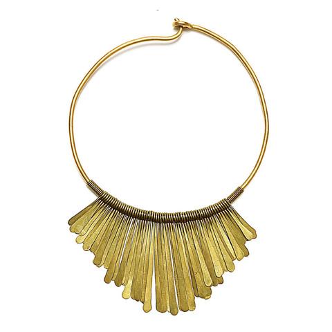 brass fringe necklace - soko